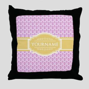 Pink Horseshoe Yellow Custom Name Throw Pillow