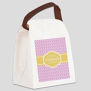 Pink Horseshoe Yellow Custom Name Canvas Lunch Bag