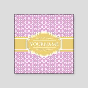 "Pink Horseshoe Yellow Custo Square Sticker 3"" x 3"""