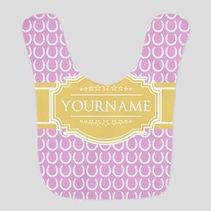 Pink Horseshow Yellow Custom Name Bib