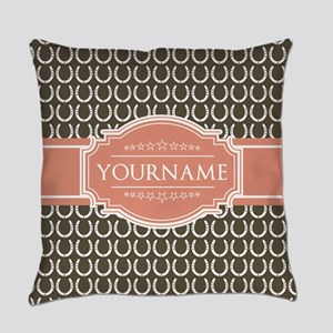 Brown Horseshoe Coral Custom Name Everyday Pillow
