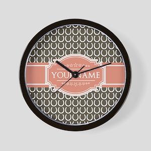 Brown Horseshoe Coral Custom Name Wall Clock