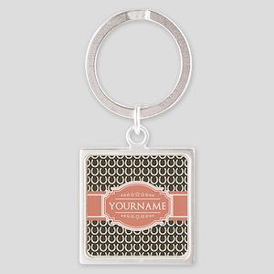 Brown Horseshoe Coral Custom Name Square Keychain