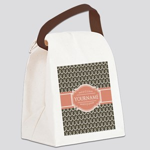 Brown Horseshoe Coral Custom Name Canvas Lunch Bag