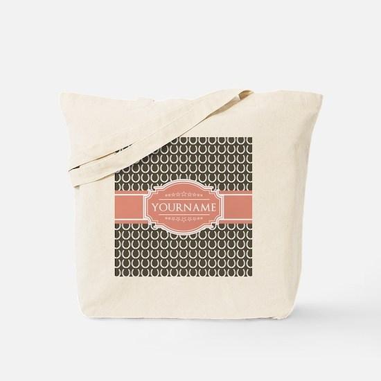 Brown Horseshoe Coral Custom Name Tote Bag