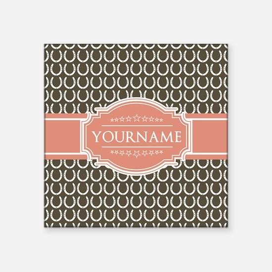 """Brown Horseshoe Coral Custo Square Sticker 3"""" x 3"""""""