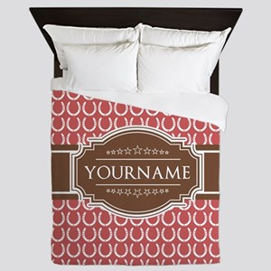 Indian Red Horseshoe Brown Custom Name Queen Duvet