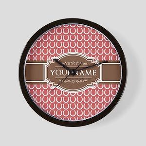 Indian Red Horseshoe Brown Custom Name Wall Clock