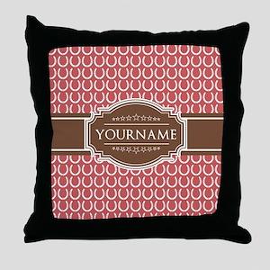 Indian Red Horseshoe Brown Custom Nam Throw Pillow