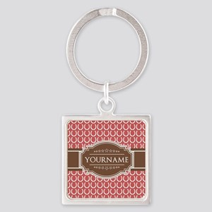 Indian Red Horseshoe Brown Custom Square Keychain