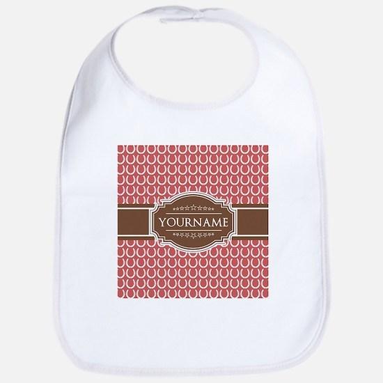 Indian Red Horseshoe Brown Custom Name Bib