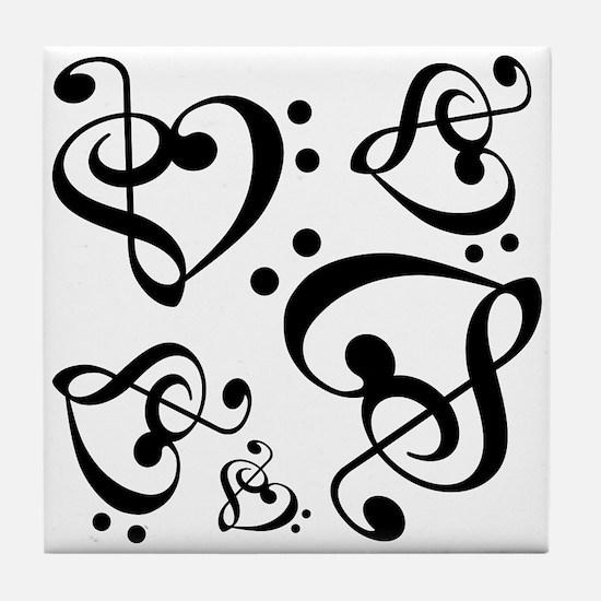 Bass Treble Clef Heart Pattern Music Tile Coaster