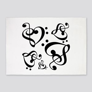 Bass Treble Clef Heart Pattern Musi 5'x7'Area Rug