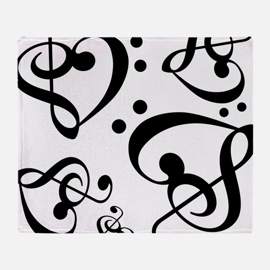 Bass Treble Clef Heart Pattern Music Throw Blanket
