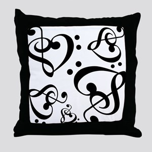 Bass Treble Clef Heart Pattern Music Throw Pillow