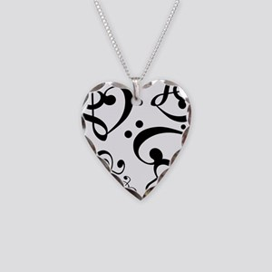 Bass Treble Clef Heart Patter Necklace Heart Charm
