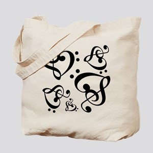 Bass Treble Clef Heart Pattern Music Tote Bag