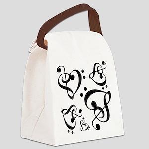 Bass Treble Clef Heart Pattern Mu Canvas Lunch Bag