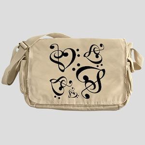 Bass Treble Clef Heart Pattern Music Messenger Bag