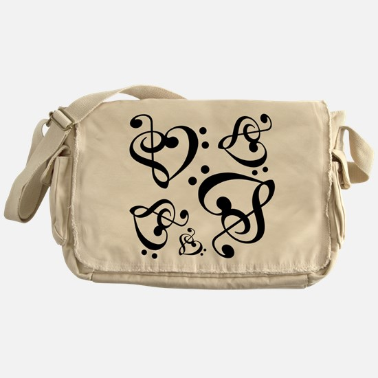 Bass Treble Clef Heart Pattern Music Messenger Bag