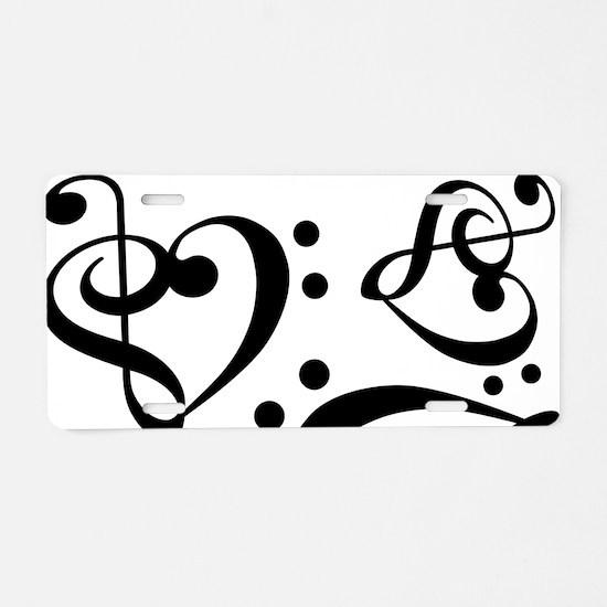 Bass Treble Clef Heart Patt Aluminum License Plate