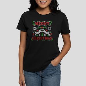 meowy christmas ugly christma Women's Dark T-Shirt