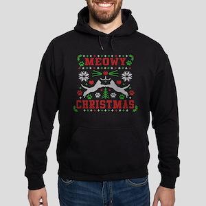 meowy christmas ugly christmas Hoodie (dark)