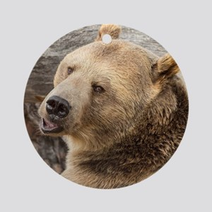 Smiling Grizzly Round Ornament