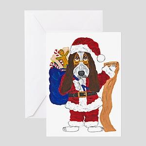 Basset Santa Checking List Of Good Greeting Cards