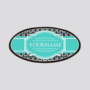 Personalized Horseshoes Pattern - Aqua Navy Patch