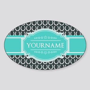 Personalized Horseshoes Pattern - A Sticker (Oval)