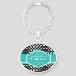 Personalized Horseshoes Pattern - Aq Oval Keychain