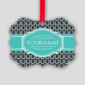 Personalized Horseshoes Pattern - Picture Ornament