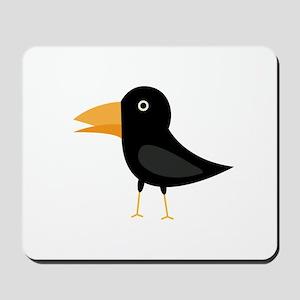 Black cute raven Mousepad