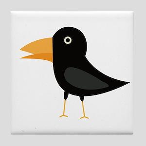 Black cute raven Tile Coaster