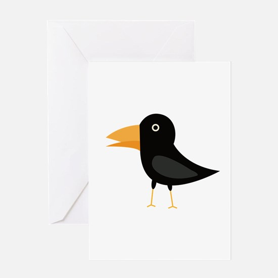 Black cute raven Greeting Cards