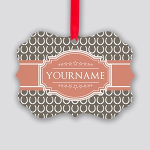 Personalized Horseshoes - Beige a Picture Ornament