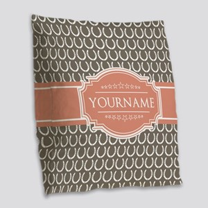 Beige Salmon Horsehoes Persona Burlap Throw Pillow