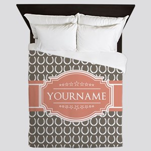 Beige Salmon Horsehoes Personalized Queen Duvet