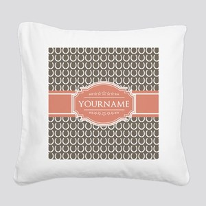 Beige Salmon Horsehoes Person Square Canvas Pillow