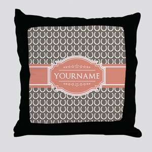 Beige Salmon Horsehoes Personalized Throw Pillow