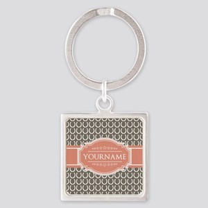 Beige Salmon Horsehoes Personalize Square Keychain