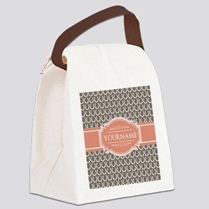 Beige Salmon Horsehoes Personaliz Canvas Lunch Bag
