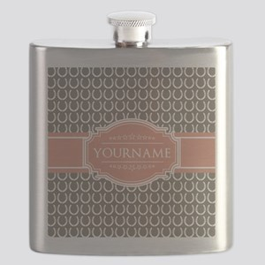 Beige Salmon Horsehoes Personalized Flask