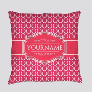 Hot Pink Horseshoes Personalized Everyday Pillow