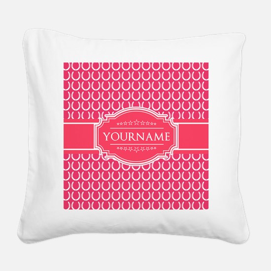 Hot Pink Horseshoes Personali Square Canvas Pillow
