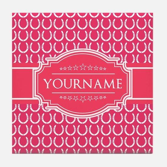 Hot Pink Horseshoes Personalized Tile Coaster