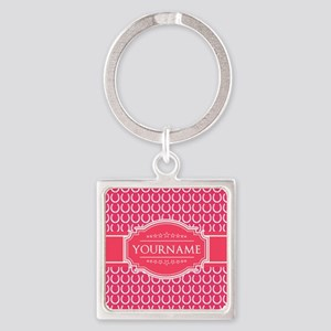 Hot Pink Horseshoes Personalized Square Keychain