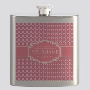 Hot Pink Horseshoes Personalized Flask