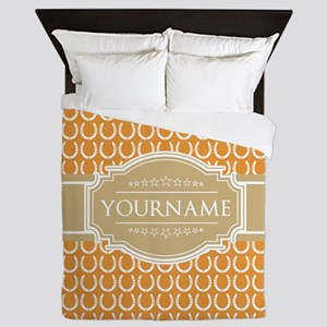 Personalized Horseshoes Pattern - Yell Queen Duvet